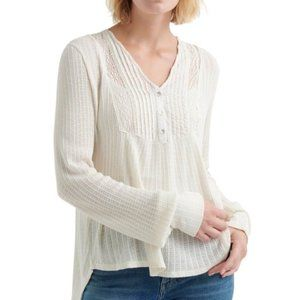 Lucky Brand Lace Mix Drop Needle Top. XS